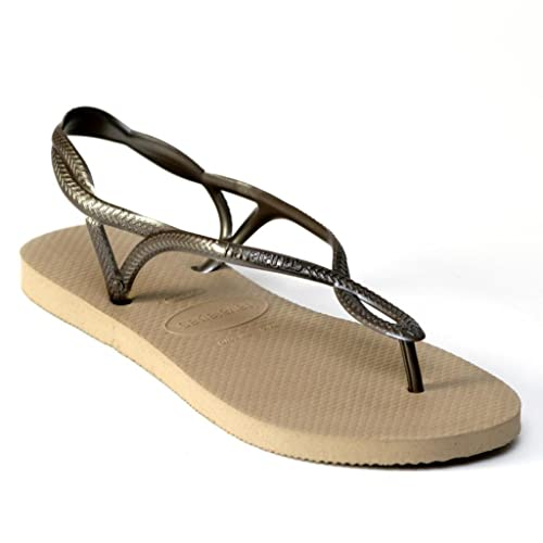 a8f382d21ab78 Havaianas Luna Rose Gold Strap Women Flip Flops Thongs Brazil Rubber Sandals  Beach  Amazon.co.uk  Shoes   Bags
