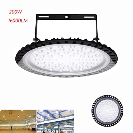 Ufo Led High Bay Light 200w 16 000lm 6000k Ip65 Waterproof Slim Super Bright Led Warehouse Lighting Lamp Fixture Big Commercial Space High Bay
