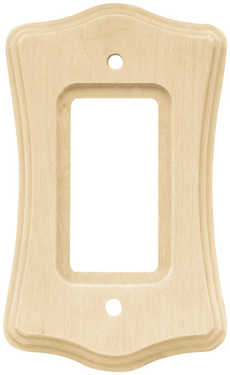 Franklin Brass 64639 Wood Scalloped Single Decorator Wall Plate / Switch Plate / Cover, Unfinished Wood