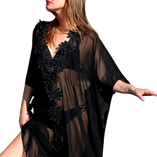 ac0fd25c41876a Women Sexy Lace Appliques Front Beach Cover up Bathing Suit Bikini Smock  Maxi