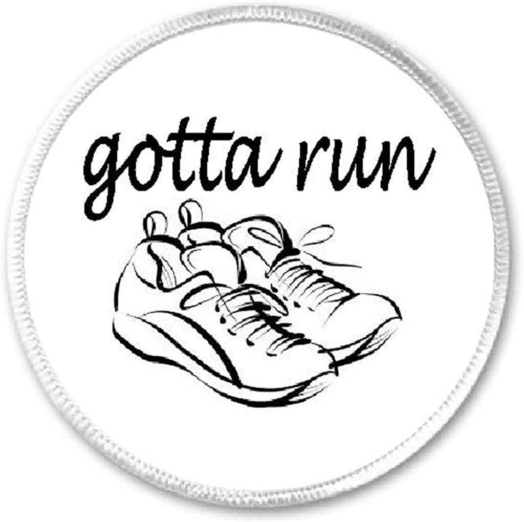 "Iron On Patch Runner Humor Gift 3/"" Circle Sew Gotta Run Running Shoes"
