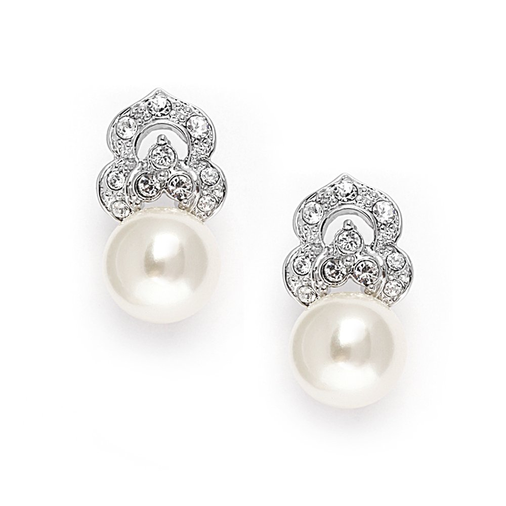 Mariell Elegant Pearl Bridal Earrings with Art Deco Vintage Wedding Style - Cream Pearls & Pave CZ Accent