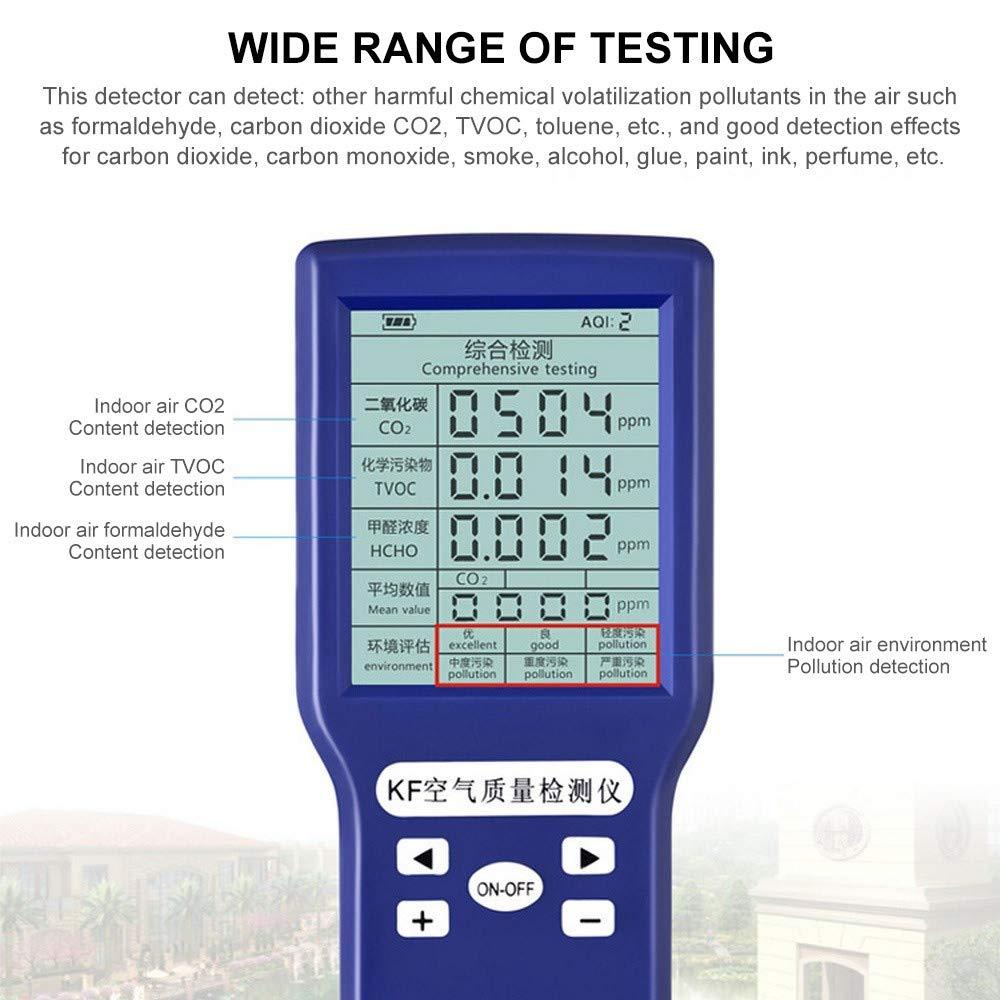 CO2-ppm-Messger/äte Autos und im Freien Schwarz -Messger/ät,TVOC Und AQI Monitor Multi Gas Analysator pr/äzises Testen f/ür H/äuser HCHO Luftqualit/ät-Messger/ät 5-in-1 Luftdetektor Formaldehyd