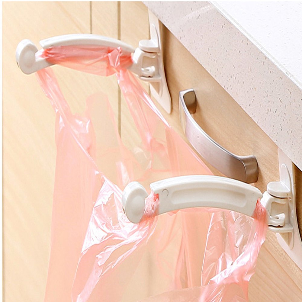KathShop 2PCS Foldable Creative Hanging Trash Rubbish Bag Holder Garbage Rack Cupboard Cabinet Storage Hanger for kitchen