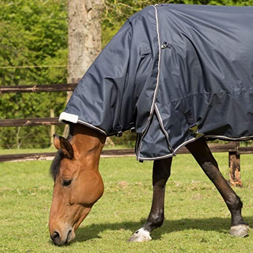 Mark Todd Turnout Rug Lightweight Neck Cover Navy//Beige//Royal Plaid