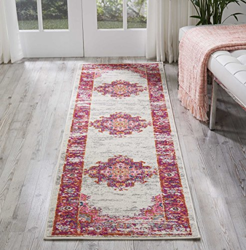Nourison PSN03 Passion Distressed Vintage Ivory/Fuchsia Area Rug Runner 2'2 x 7'6 Antique Persian Runner