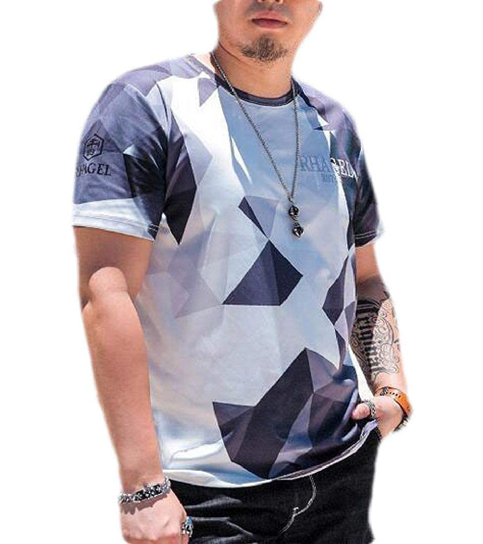 X-Future Men Loose Casual Short Sleeve Plus Size Color Block T-Shirt Tee
