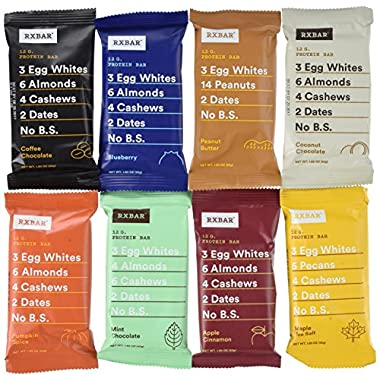 RxBar Real Food Protein Bars Variety Pack, 9 Flavors w/ NEW Maple Sea Salt (Pack of 18)