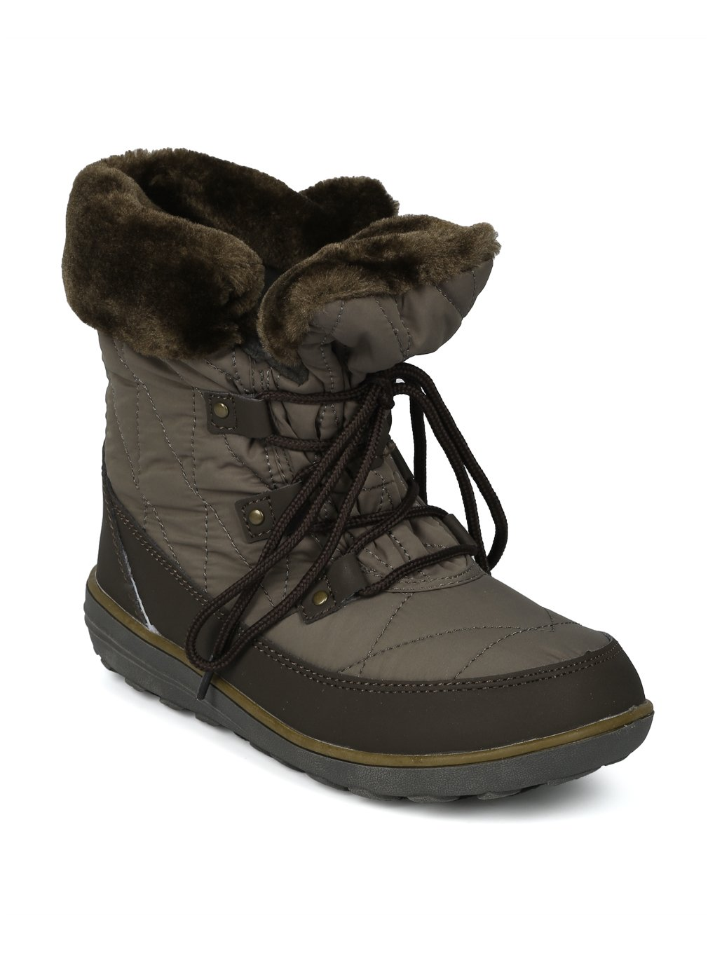 Alrisco Faux Fur Trim Lace up Outdoor Winter Boot HG06 B078MPQ7LM 8.5 M US|Olive Mix Media