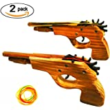 Adventure Awaits! 2-Pack Rubber Band Gun - Quality Wood & Handmade - Easy load - 8 Rubber bands per set