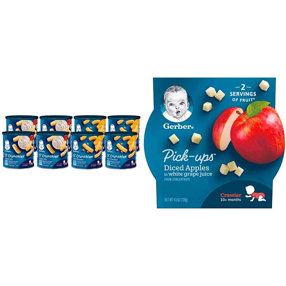 Gerber Lil Crunchies, Mild Cheddar & Veggie Dip, 8 Count & Pick-ups, Diced Apples in White Grape Juice, 4.5-Ounce (Pack of 8)