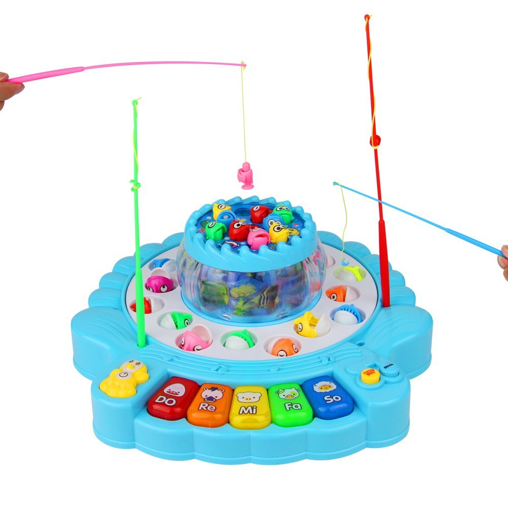 TONZE Fishing Game Musical Toys Piano Toy with 2 Fishing Board and 4 Fishing Rods for Kids 3 4 5 Years Old