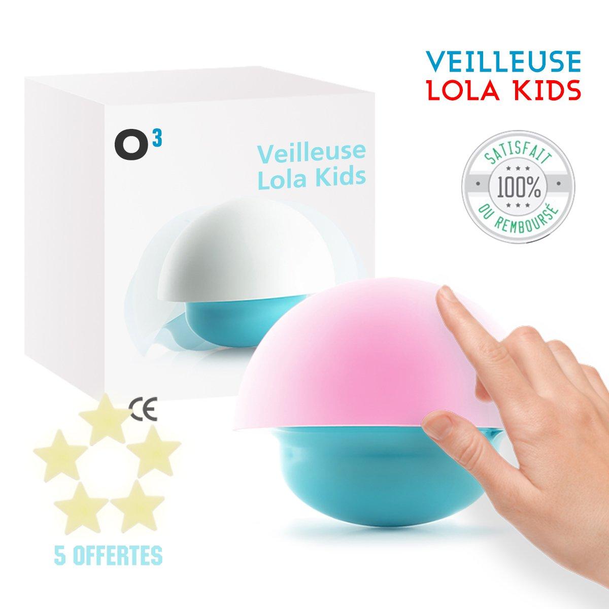 O³ Veilleuse Nomade Lola Kids - Lampe de Nuit Tactile pour Enfant - Format Voyage - Livrée avec 5 étoiles fluorescentes - Branchement USB ou Piles - Notice en Français - Norme CE