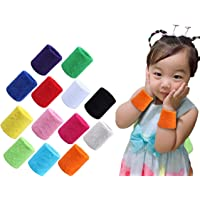 MoonyLI 12 stuks sportarmbanden polsen zweetbanden kinderen kleurrijke sportarmbanden katoen SWE elastische badstof…