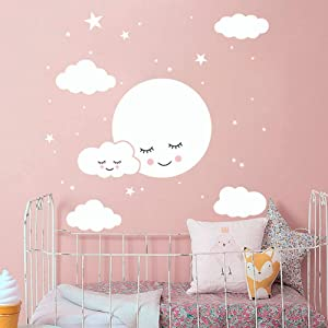 35 Pcs Moon Star Cloud Wall Decals Assorted Size Removable Smiling Moon Star & Cloud Wall Stickers for Decor Home DIY Baby Nursery Kids Bedroom