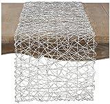 SARO LIFESTYLE Ottavia Design Wire Nest Patterned Polypaper Runner, 16'' x 72'', Silver