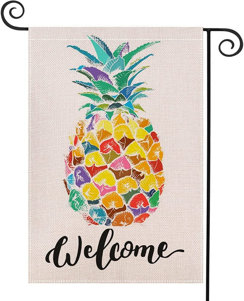 LHSION Welcome Pineapple Garden Flag 12.5 x 18 Inch Decorative Double Sided Burlap Flag for Spring Summer Yard Decoration