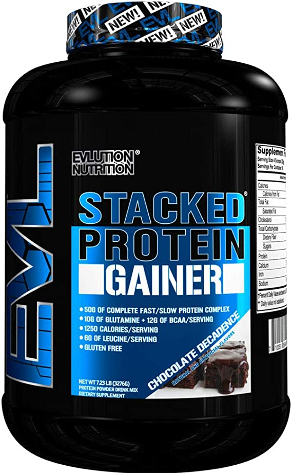 Evlution Nutrition Stacked Protein Gainer Polvo de Proteína con 50 Gramos de Proteína, 12 Gramos de BCAA y 10 Gramos of Glutamina (Chocolate, 3,1 kg)