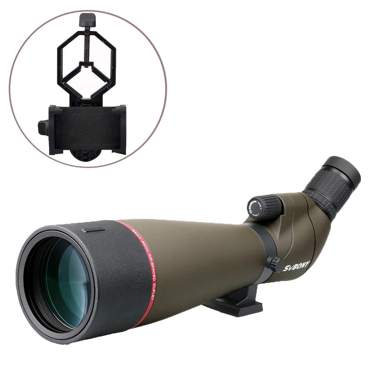 Svbony SV13 Telescopio Terrestre 20-60x65 Impermeable con Adaptador de Móvil Zoom Spotting Scope Lente óptica Recubierta MC Refractor 45° Angulo de visión EUF9314AA-W2546A