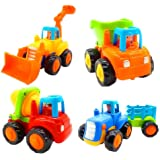Friction Powered Cars, Push and Go Toy Trucks Construction Vehicles Toys Set for 1-3 Year Old Baby Toddlers- Dump Truck, Ceme