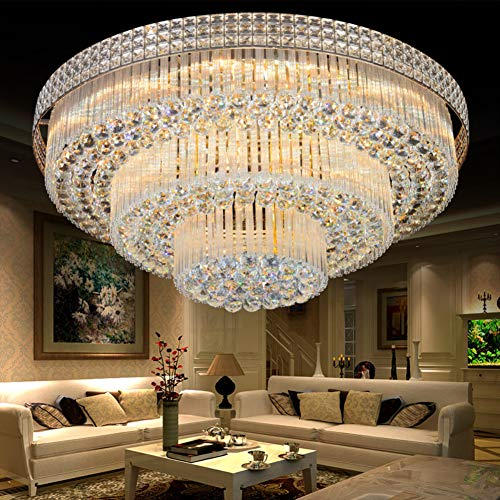 A Million Crystal Chandelier Luxury LED Pendant Ceiling Light Remote Control Flush Mount Lighting Fixture for Living Room Bedroom Kitchen Hotel Room (23.6
