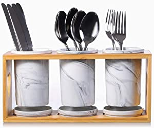 Kitchen Utensil Steel Flatware Organizer Holder, Silverware Caddy for Spoons Knives and Forks (Set of 3)