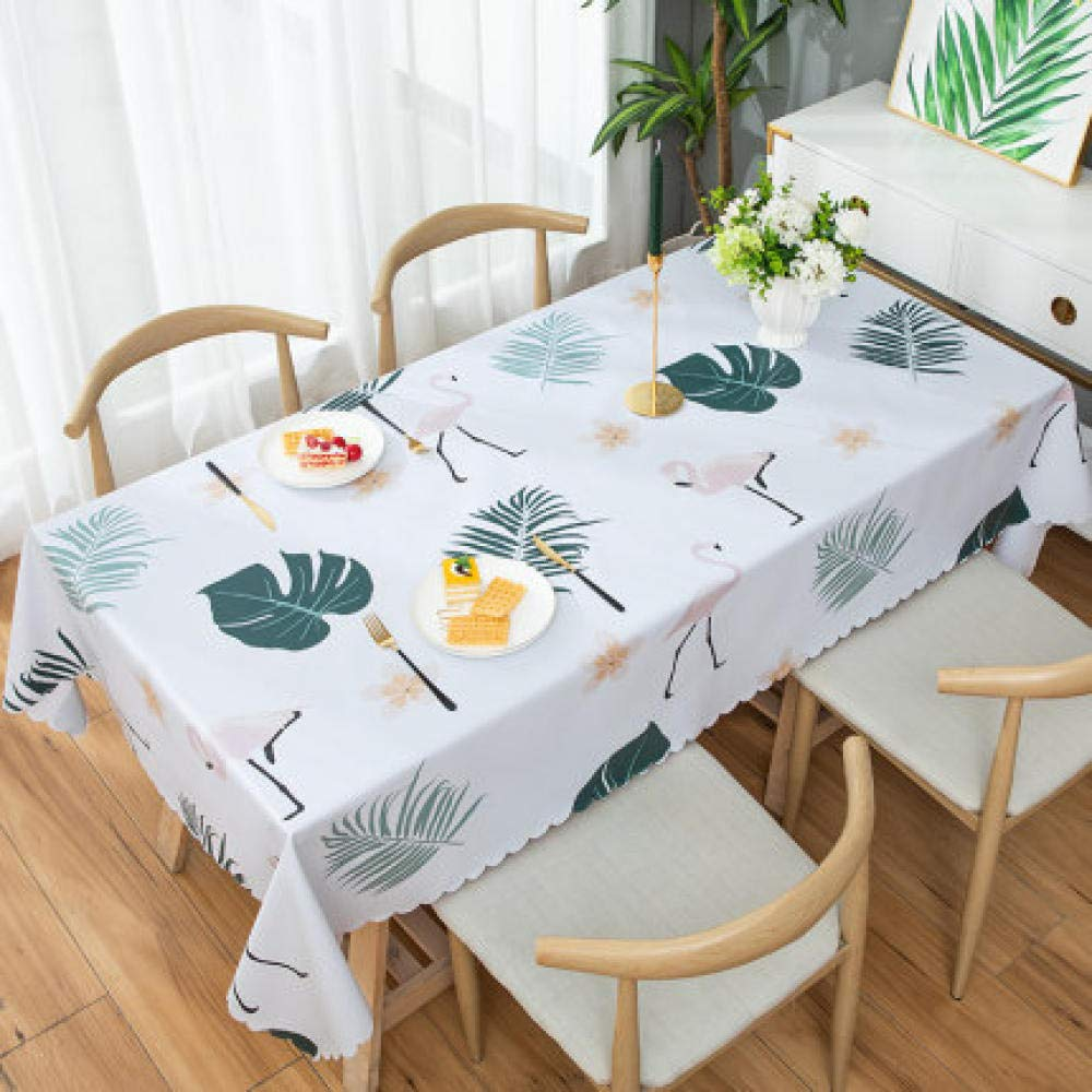 WJJYTX Plastic Table Covers Wipe clean,Square Modern/Protector Textile Backing leaves-137 * 220_E