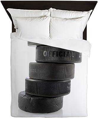 CafePress Official Ice Hockey Pucks Queen Duvet Cover, Printed Comforter Cover, Unique Bedding, Microfiber