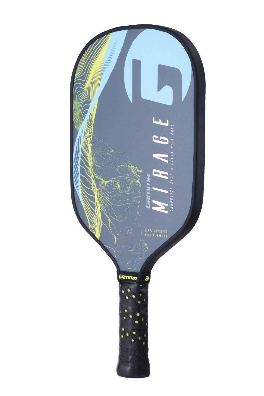 Gamma Mirage Composite Pickleball Paddle: Pickle Ball Paddles for Indoor & Outdoor Play - USAPA Approved Racquet for Adults & Kids - Blue/Yellow by Gamma (Image #3)