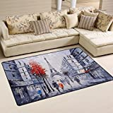Naanle Oil Painting Paris Area Rug 3'x5′, France Eiffel Tower Polyester Area Rug Mat for Living Dining Dorm Room Bedroom Home Decorative Review
