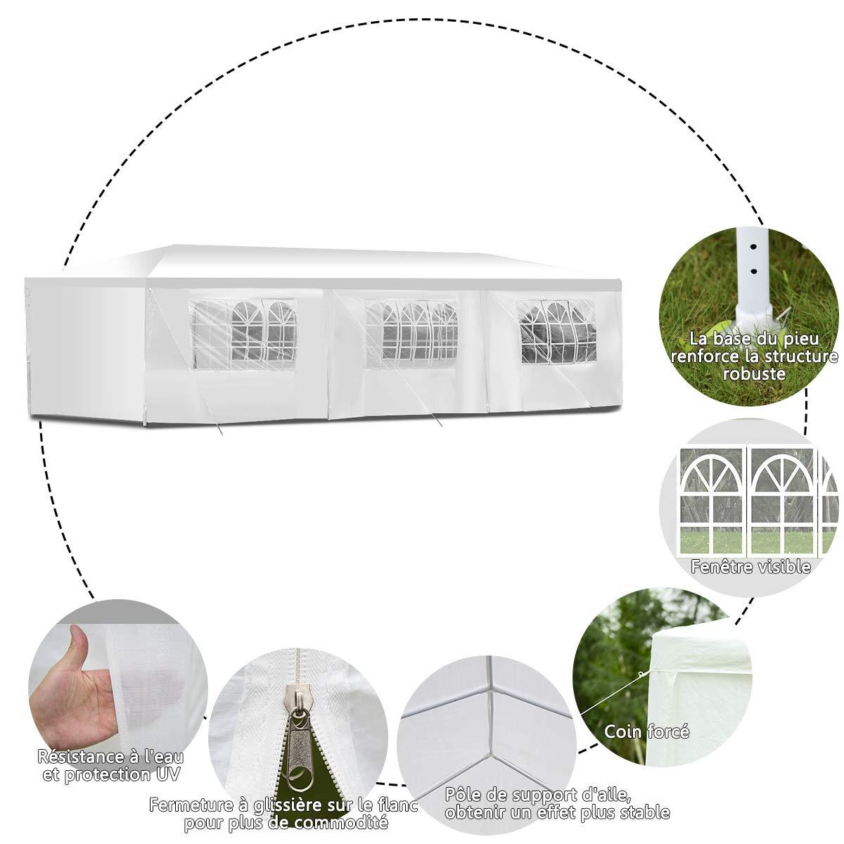 vengaconmigo Tonnelle de Jardin Tente R/éception Pavillon de Jardin en Tube Acier et PE pour Ext/érieur Dimension 3 x 9 x 2,55 M Blanche 3 x 6 x 2,5M 3 x 9 x 2,5 M 3 x 6 x 2,5 M