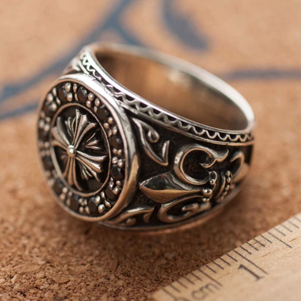 Selia Crusader Flower Ring 925 Plata esterlina Incrustaciones Flint Anillo Hombres y Mujeres joyer/ía de la Mano,XXXXL