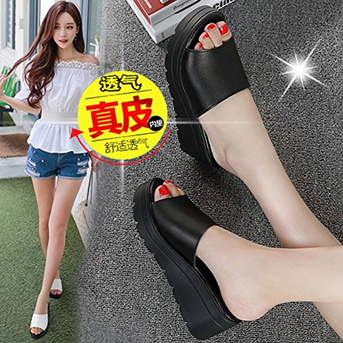 fankou Summer Women Shoes Thick Women Fashion High-Heeled Slippers Summer Cool and Things to Wear with Cold on The Slopes of,36, Black Slippers.
