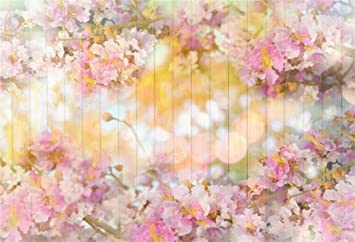 aofoto 5x3ft pink floral wood backdrops spring blossom flowers wooden wall valentines day decoration wallpaper photography background newborn kids