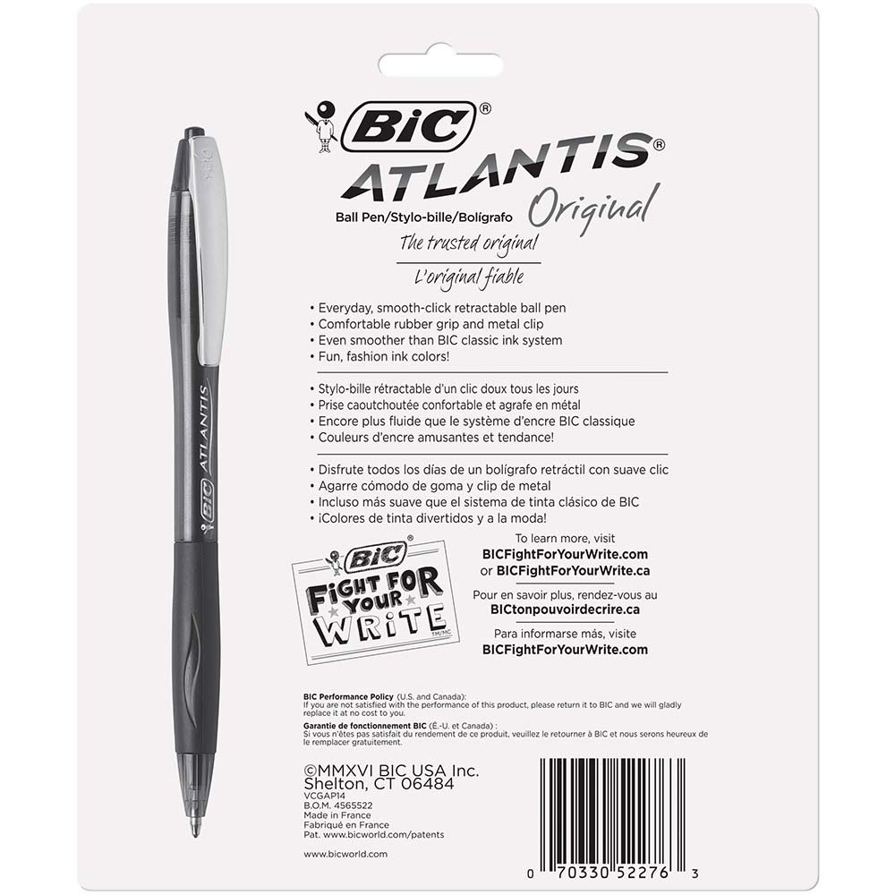 Amazon.com : BIC VCGAP141 Atlantis Original Retractable Fashion Ball Pen,  Medium Point (1.0 mm), Assorted, 14-Pack : Office Products