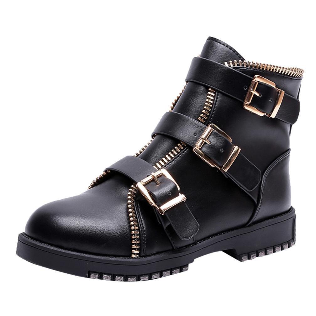 FAMI Bottes Plates à Vintage Bout Chaussures rond Vintage pour pour Femme, Chaussures Décontractées Martin en Cuir Noir 90b5106 - piero.space