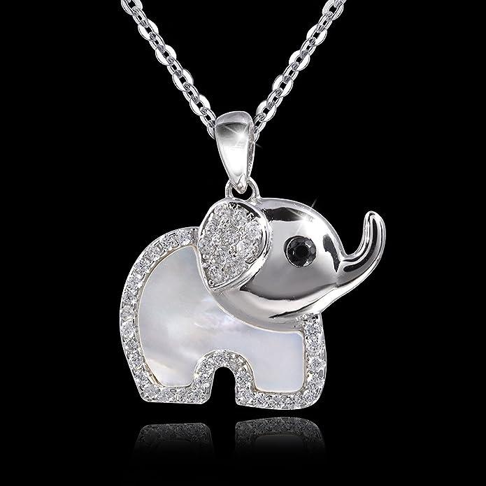 MATERIA Ankerkette mit Kinder Perlmutt Anhänger Elefant 925 Silber Zirkonia weiß