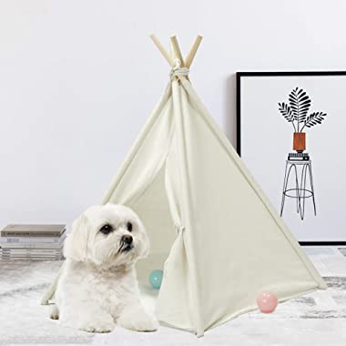 UKadou Pet Teepee Tent for Dogs Cats Foldable Portable Cotton Canvas Pet Bed House for Rabbit Puppy 5 Poles Pine Wooden with Floor White Color 24 Inches