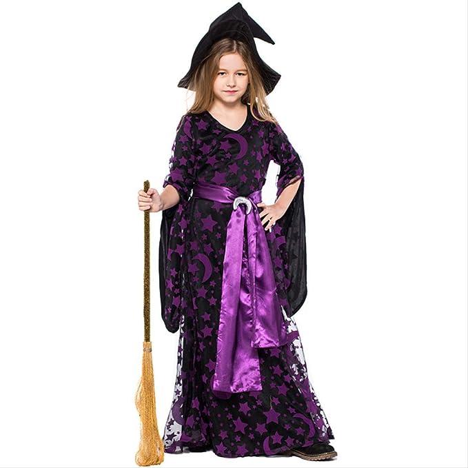 HG-amaon Disfraz de Bruja de Bruja púrpura para niños, Vestido de ...