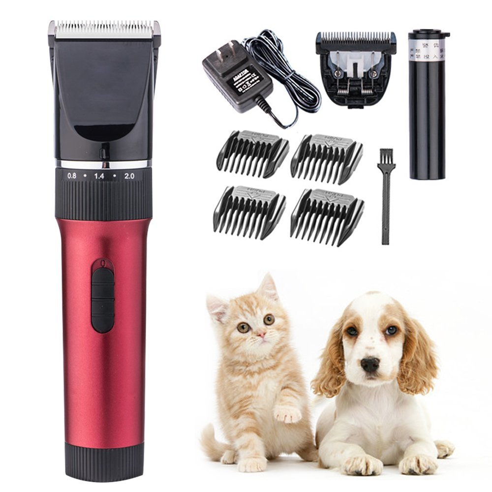 Slient Pet Groomer Clippers with 7h of Run Time, Triumilynn Low Noise Cat Dog Shavers, Pet Trimmer Set with Safety Blade, Rechargeable and Cordless, 4 Size Combs and 5 Levels Fine-tuning by Triumilynn