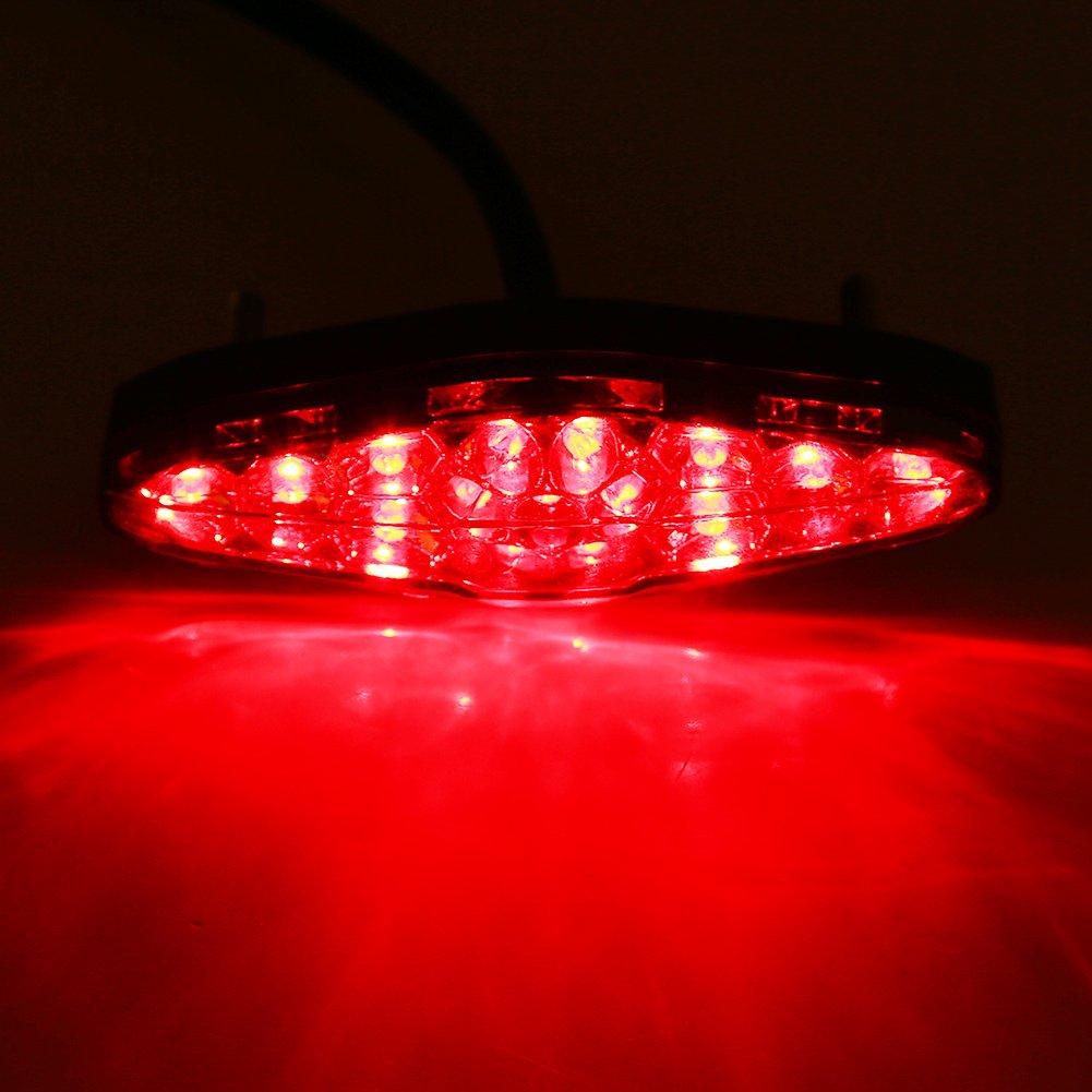 Red Tail Lights,12V 15 LED Motorcycle Brake Stop Running Tail Light Rear Light ATV Dirt Bike Universal Motorcycle Rear Brake Light