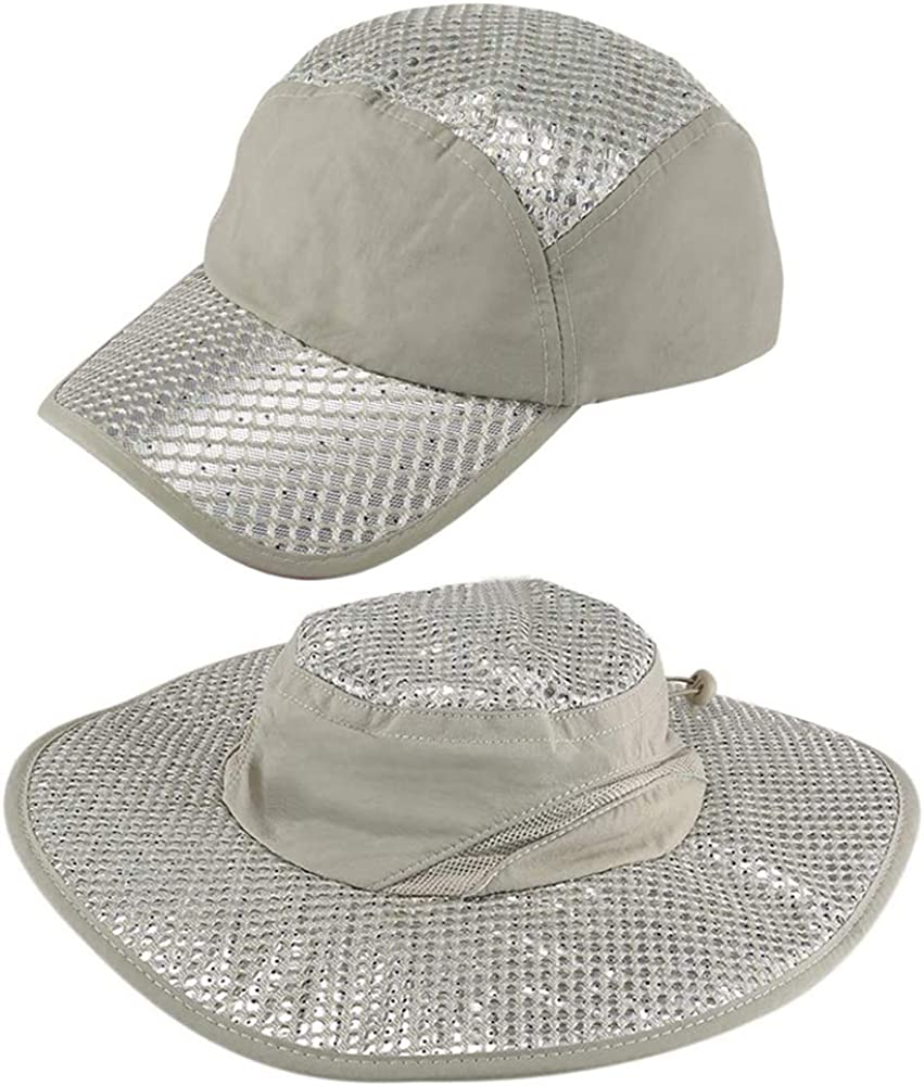 CJCGLOBAL 2 PCS Anti-UV Sunstroke-Prevented Cooling Hat,Lined with Evaporative PVA Materal for Fast Cooling Relief,Breathable UPF Protection Cap for Hiking Hunting Camping Outdoor Grey