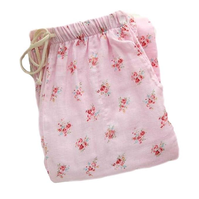 BLANCHO BEDDING [Pink] Mujeres de Algodón Suelta Pijamas Pantalones Pijama Bottoms Loungewear