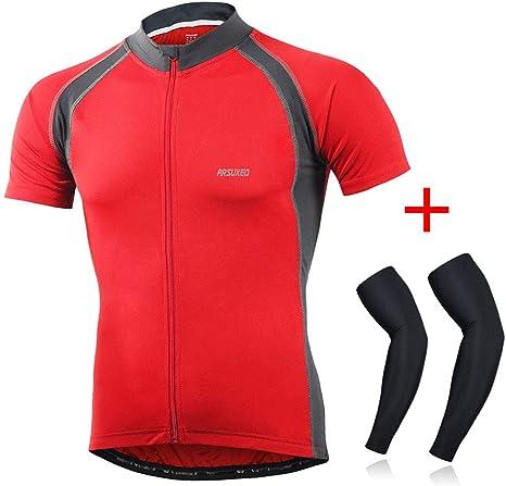 Hombres Ciclismo Camiseta De Manga Corta Primavera Verano, Camisa Transpirable Bicicleta De Montaña Reflectante De Secado Rápido Camisetas, Jerseys De Ciclo con Bolsillo, MTB Ropa,Rojo,XL: Amazon.es: Deportes y aire libre
