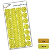 SafeKIDS luminous sticker, YELLOW, 13 stickers for pushchairs, bicycle helmets and more
