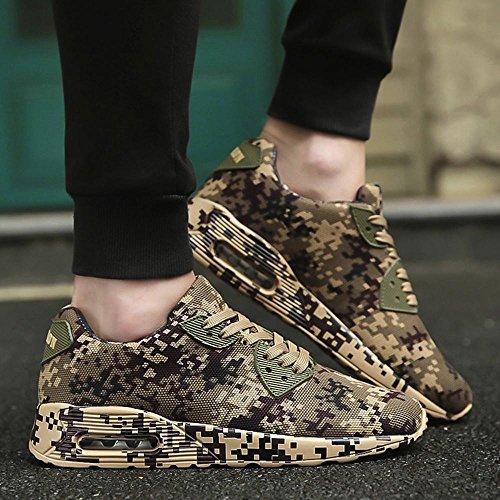 Femmes De À Pour Marron Mode Talons Zycshang Plats Plates Chaussures Camouflage Marche Baskets Motif Hommes Iw5Yqq