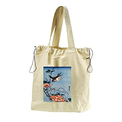 Sparrows And Wild Rose (Hiroshige) Canvas Drawstring Beach Tote Bag