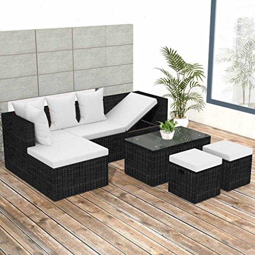 Exceptionnel Festnight 5 Piece Garden Patio Furniture Set Cushion Wicker Rattan Garden  Corner Sofa Couch Set Black