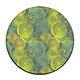Lemon Citrus Pattern Round Carpet Area Floor Rug Entrance Entry Way Front Door Mat Ground 23.6 Inch Rugs For Decor Decorative Men Women Office