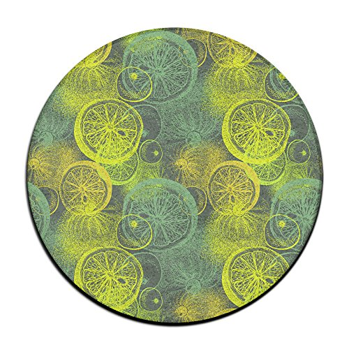 Lemon Citrus Pattern Round Carpet Area Floor Rug Entrance Entry Way Front Door Mat Ground 23.6 Inch Rugs For Decor Decorative Men Women Office by Homedecor